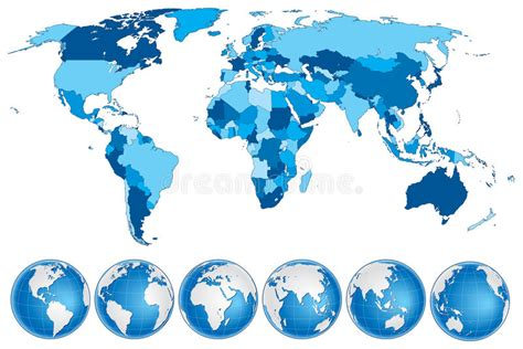 world map blue  countries  globes stock vector