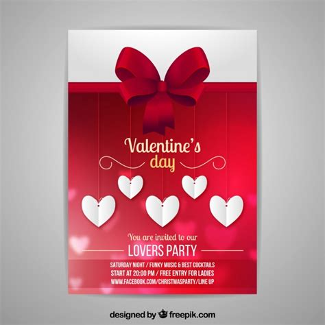 blurred valentine s day flyer poster template vector