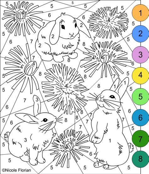 Color By Number Bunnies Coloring Pages Color By Number Pages For Adults