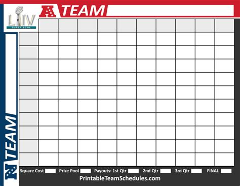 printable superbowl squares template 2020 bowl squares template printable bowl pool