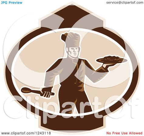 clipart of a retro woodcut clipart of a retro woodcut chef holding food on a
