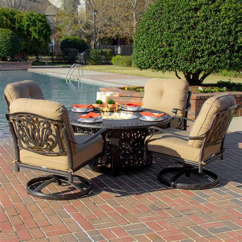 Outdoor Pit Sets Rosedown 4 Person Cast Aluminum Patio Pit Seating Set