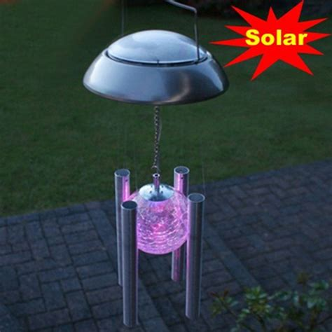 Hanging Outdoor Solar Lights New Windbell Canula Shape Led Solar Light Outdoor Lighting Chandelier Hanging Lights For