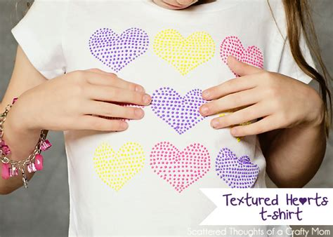Make Textured Paint - textured hearts stenciled t shirt with puff paint scattered thoughts of a crafty mom by