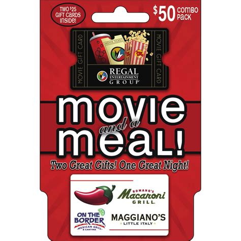 Gift Cards For Movies - brinker regal movie and a meal gift card combo pack entertainment dining gifts