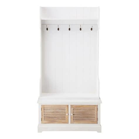 mobili ingresso maison du monde mobile bianco da ingresso in legno con 5 attaccapanni l 96