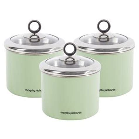 green kitchen canisters morphy richards 3pc tea coffee sugar small sage green