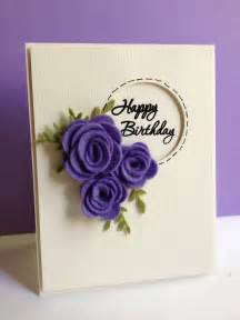 Pictures Of Handmade Greeting Cards - white and purple handmade happy birthday cards