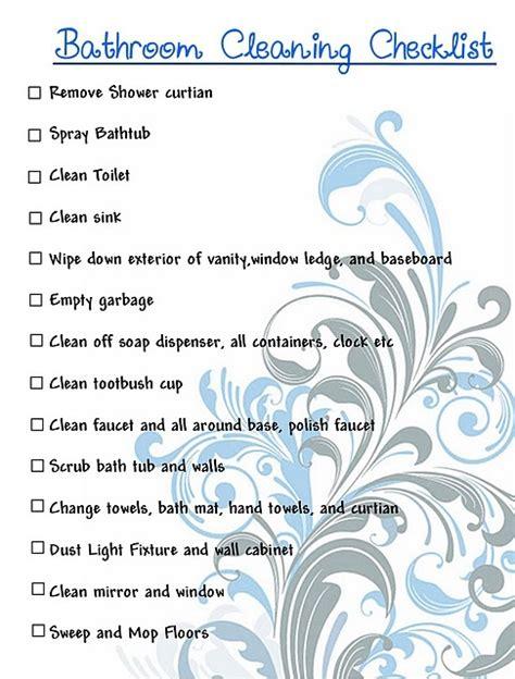 clean bathroom checklist great bathroom only cleaning checklist house pinterest