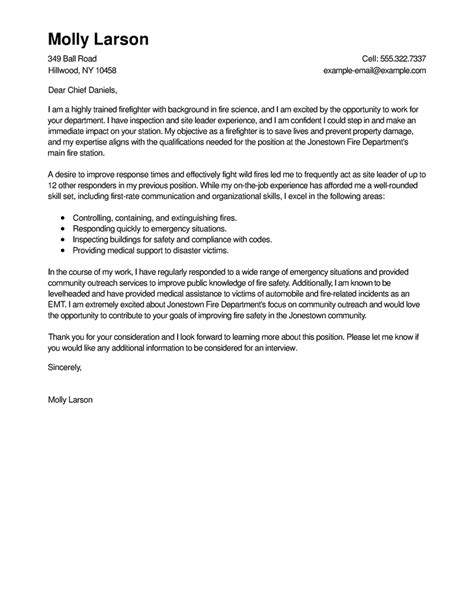 firefighter cover letter exles best firefighter cover letter exles livecareer
