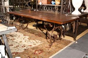 wrought iron dining room table wrought iron base wood top dining table at 1stdibs