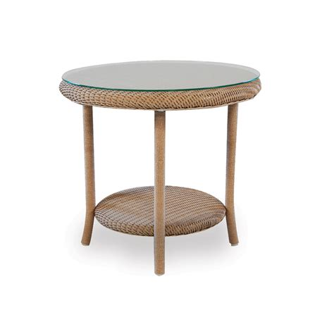 "Lloyd Flanders 24"" Round End Table with Woven Top and Lay"