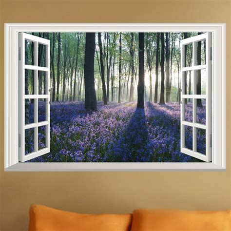 Hanging Lavender Wall Sticker Am7014 lavender flowers 3d window wall sticker tree wall sticker with vinyl decals mural