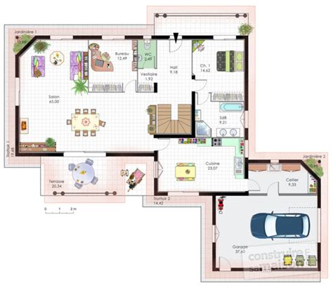 maison contemporaine 10 d 233 du plan de