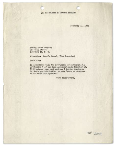 Acceptance Letter Howard Lot Detail Howard Hughes Letter Signed From 1953 Also With Telegram From Hughes Ceo Noah