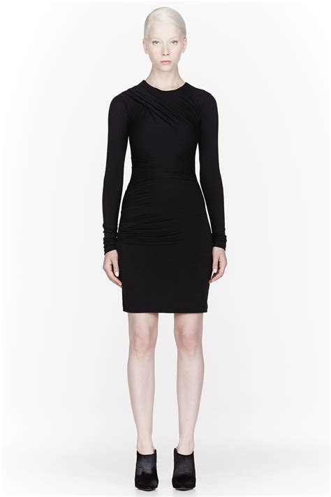 draped long sleeve dress t by alexander wang black jersey long sleeve draped dress