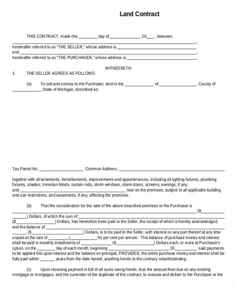 land agreement template land contract templates free printable land contract form
