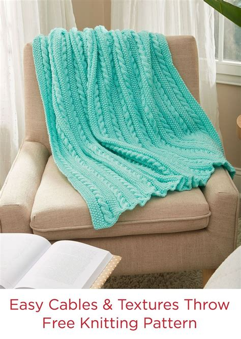 knitting pattern yarn forward easy cables texture throw free knit pattern in red heart