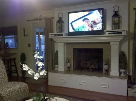Where To Put Cable Box With Tv Fireplace by Our Fireplace After Reno I It I Had Scotty Make Two