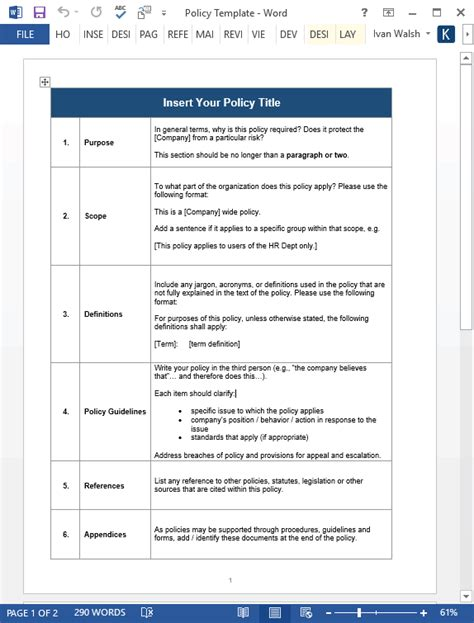 company policy manual template employee handbook templates ms word free policy manual