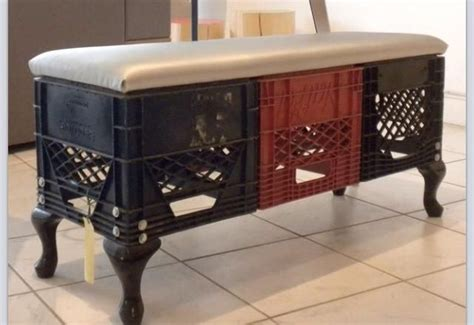 crate bench milk crates old chair legs and a padded top seat make for
