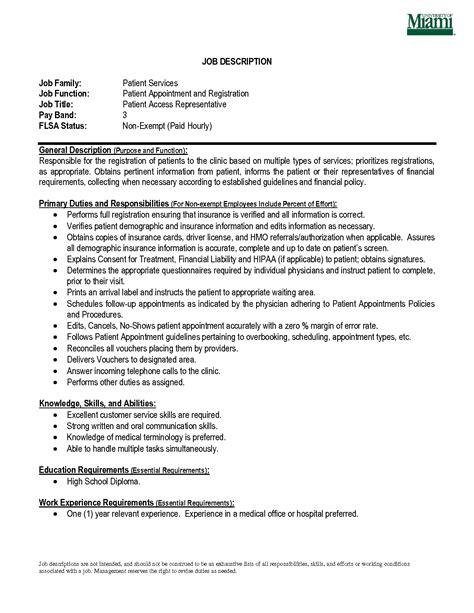 Patient Service Associate by Patient Service Representative Resume Template Learnhowtoloseweight Net