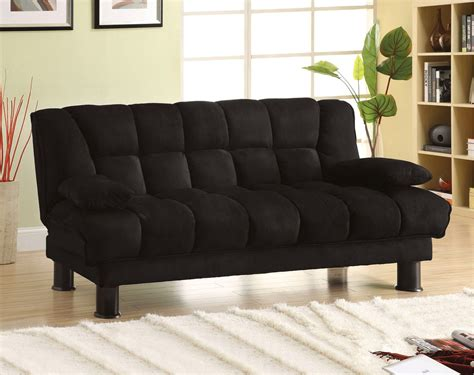 futon black bonifa contemporary black futon sofabed with under seat