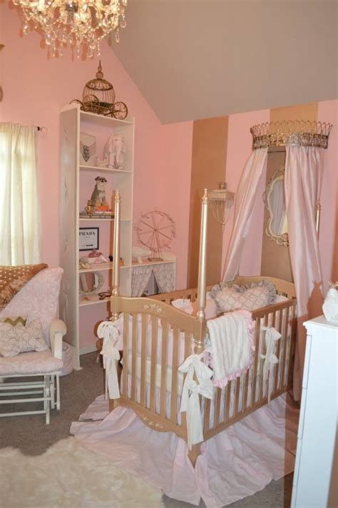 Baby Pink Bedroom Furniture by Baby S Gold And Pink Nursery Baby