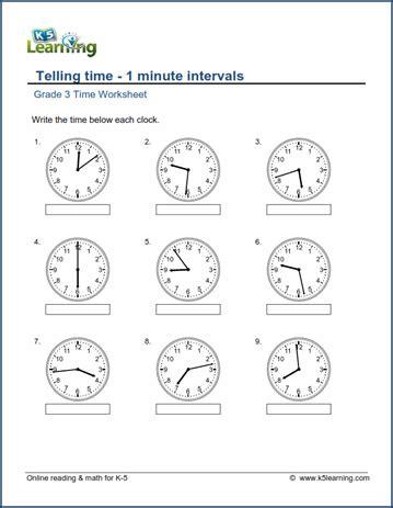 grade 3 telling time worksheet read the clock 1 minute