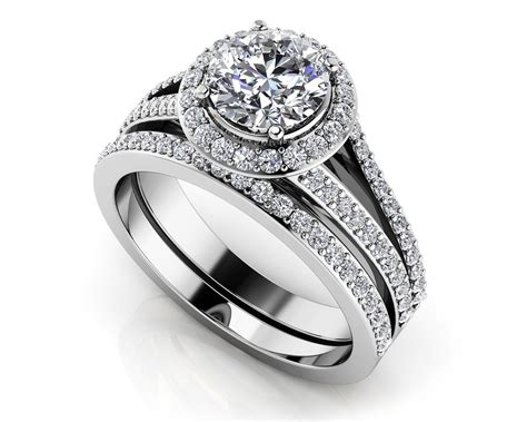 dazzling four row diamond engagement set roco s jewelry