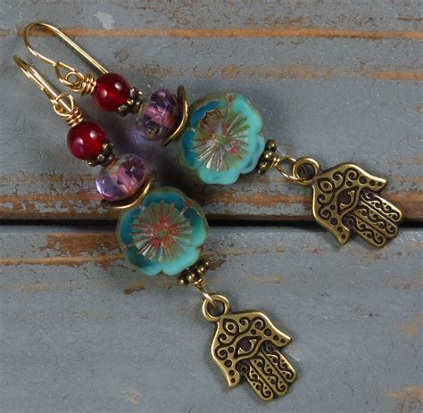 Handmade Charms - handmade boho earrings with hamsa charms handmade