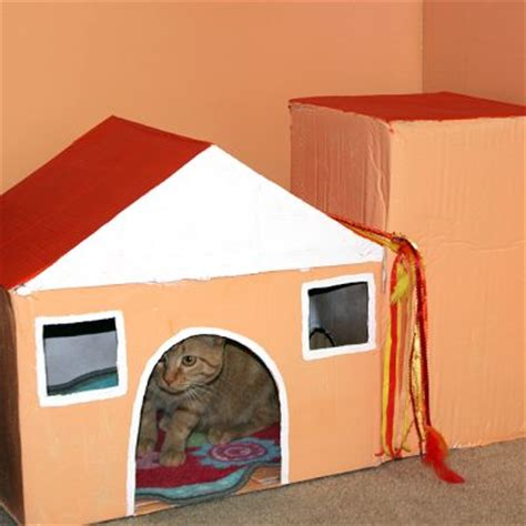 cardboard box house cardboard box cat house fun family crafts