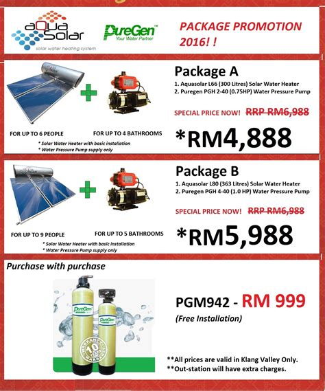 Solar Water Heater Malaysia aquasolar solar water heater package promotion 2017
