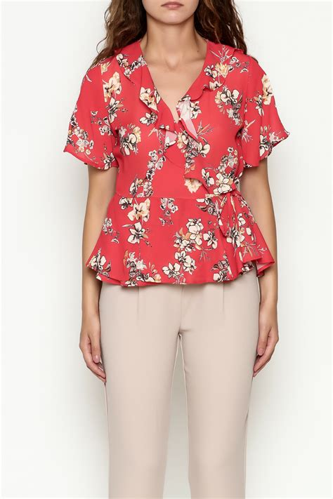 Blouse Sf Erkud Flower 113502m marvy fashion floral surplice top from san francisco by