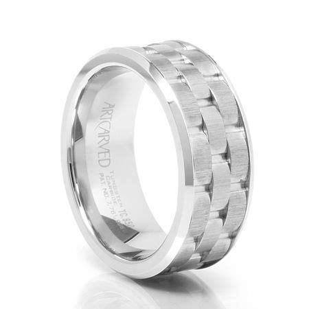 mortar 9mm white tungsten carbide band triton mens wedding