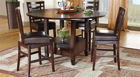 Marble Pedestal Dining Table Landon Chocolate 5 Pc Counter Height Dining Set Dining