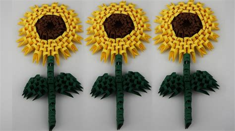 3d Origami Sunflower - how to make a 3d origami sunflower diy tutorial free