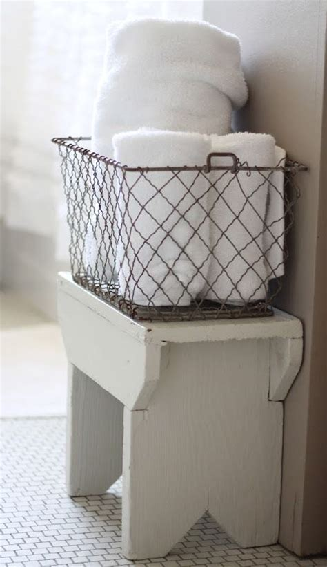 Wire Bathroom Storage Adorable Wire Basket On Stool Bird On A Wire Wire Baskets Baskets And Towels