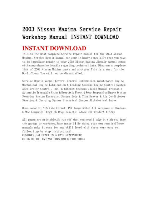 how to download repair manuals 1995 nissan maxima free book repair manuals 2003 nissan maxima service repair workshop manual instant download