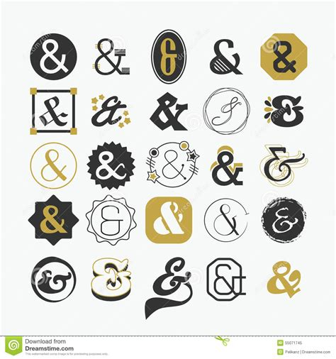 design elements vector pack ampersand sign and symbol design elements set stock vector