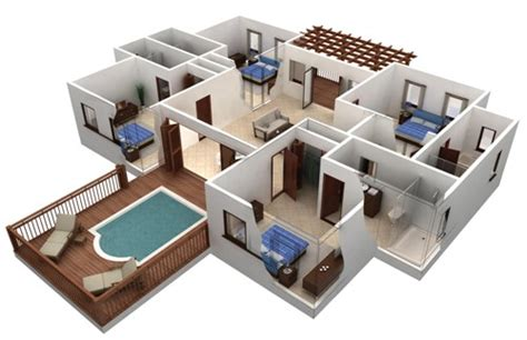 isometric view 4 a 4 room house studio design gallery best design