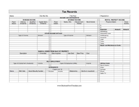 Tax Records Tax Records Template