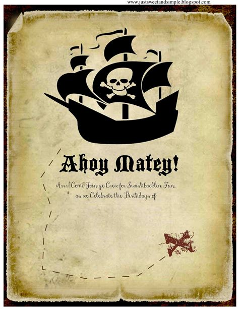 Just Sweet And Simple Pirate Party Invitations Free Pirate Invitation Template