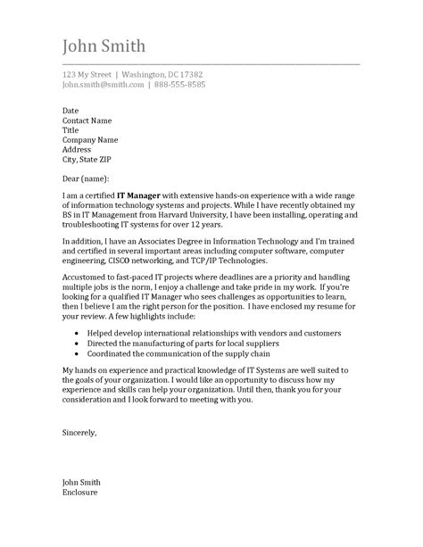 cover letter suggestions ideas