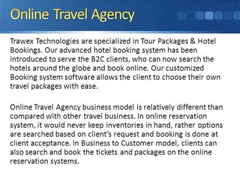 Travel Description by Trawex Travel Agency Travel Booking System Software Authorstream