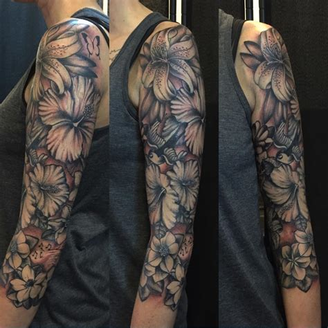 designing sleeve tattoo flower sleeves tattoos flowers ideas for review
