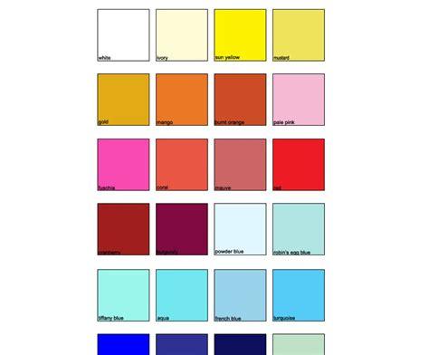 np1 color chart k l krafbunga kombinasi warna tema perkahwinan