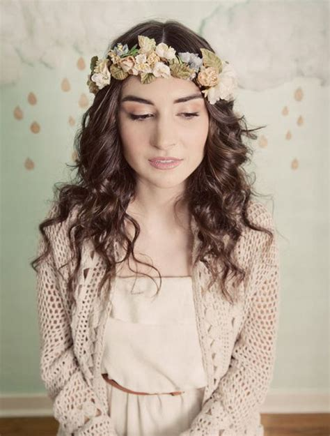hairstyles for a garden party wreaths of flowers for a wedding hairstyle bohemian style