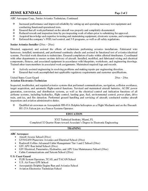 Avionics Installer Cover Letter by Avionics Technician Resume Sle Resume Ideas