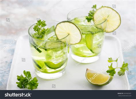 Detox Water Italiano by Lime Cucumber Parsley Cocktail Lemonade Detox Water
